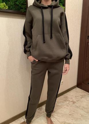 Костюм спортивный тёплый на флисе, женский флисовый костюм с худи