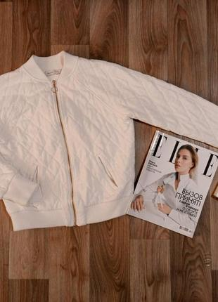 Бомбер теплый белый пиджак кофта на молнии bershka