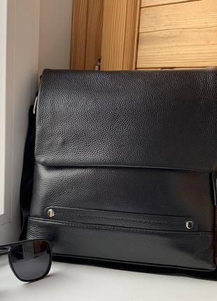 Мужская кожаная сумка через плечо черная / барсетка / мужские сумки / из кожи