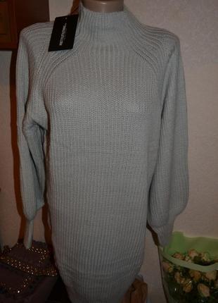 Вязаное светло-серое платье-джемпер от plt (бирка!)8 фото