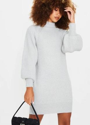 Вязаное светло-серое платье-джемпер от plt (бирка!)1 фото
