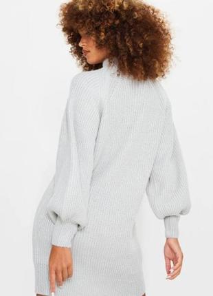 Вязаное светло-серое платье-джемпер от plt (бирка!)3 фото
