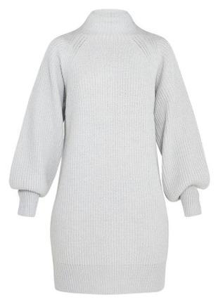 Вязаное светло-серое платье-джемпер от plt (бирка!)5 фото