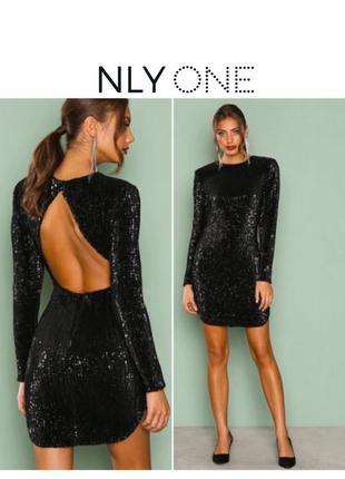 Новое блестящее праздничное новогоднее платье мини чёрное пайетки блестки стиль balmain