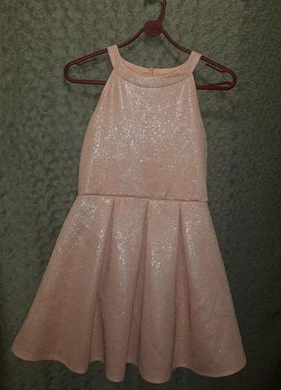 Платье новогоднее,пышное,блестящее,нарядное,пудра
