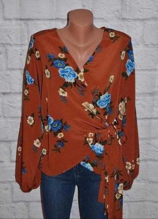 Новая блуза на запах в цветочный принт primark 48-50