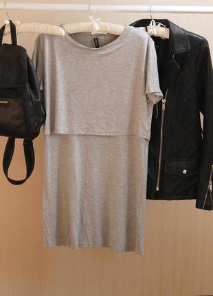 Серое платье прямого кроя h&m