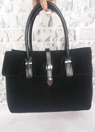 Женская кожаная сумка жіноча шкіряна замшевая сумочка деловая