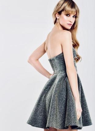 Платье - бандо , люрекс на дайвинге, с пышной юбкой, s-m, новое top shop