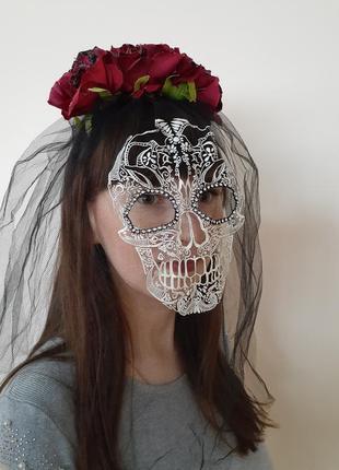 Объемный ободок венок с вуалью и фатой череп на хэллоуин невеста дракулы