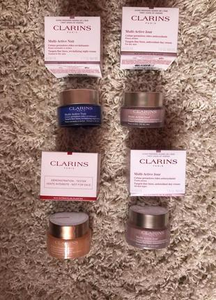 Крема для лица дневной и ночной  clarins extra firming / clarins multi active