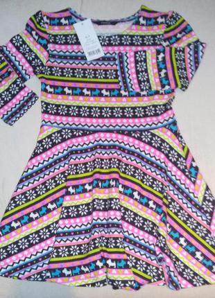 Платье c орнаментом укороченный рукав george 6-7 лет новое