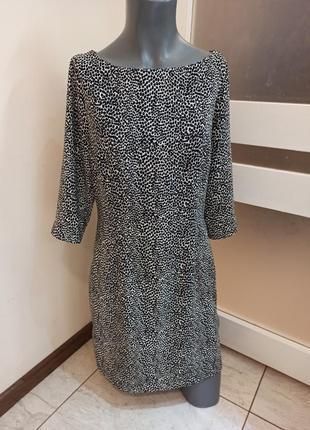 Платье в черно-белый принт f&f размер uk10/ eur36-38/ s-m черно-белое платье