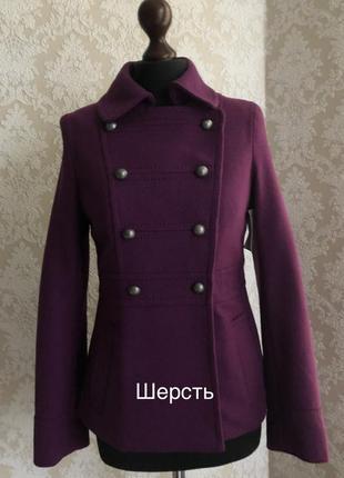 Полупальто пиджак фиолетовое из шерсти в стиле милитари h&am