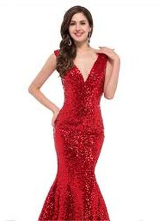 Красное вечернее (выпускное) коктейльное платье рыбка, русалка с вышивкой
