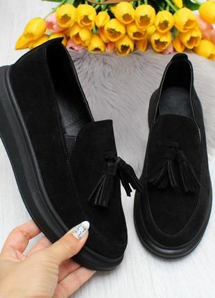 Чёрные лоферы ,слипоны,мокасины . женские черные.натуральная замша.туфли, балетки