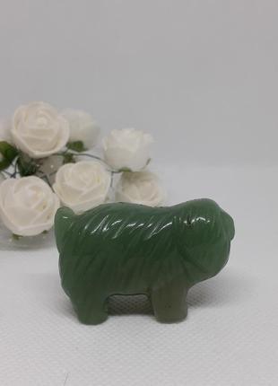 Нефрит! статуэтка миниатюра собачка болонка песик натуральный камень