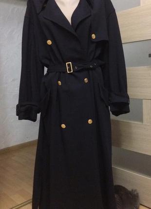Шикарное пальто плащ тренч из натуральной шерсти