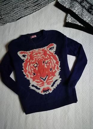 Женский свитер, полувер с тигром