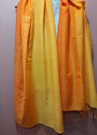 Шелковый шарф палантин-оранжево-желтый градиент