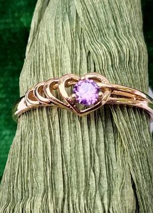 Позолоченное кольцо с сиреневым камнем р.18, позолота 18 карат 585 пробы, xuping