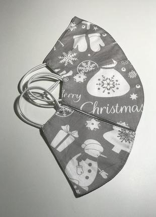 Маска тканевая новогодняя многоразовая маска багаторазова новорічна