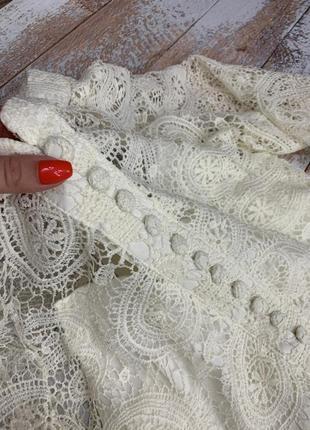 Шикарное молочное белое бежевое  кружевное платье молочного цвета6 фото