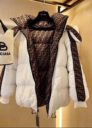 Крутая очень тёплая двусторонняя куртка fendi