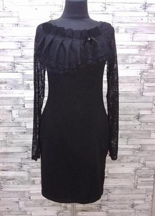 Теплое черное платье