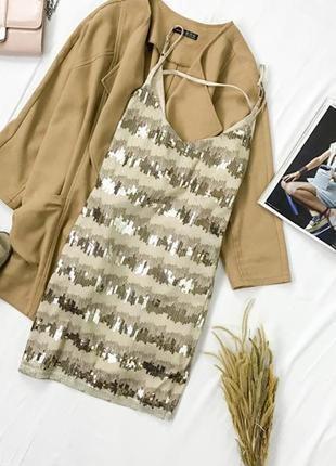 Коктейльное платье спереди расшитое паетками dr 1943112  boohoo