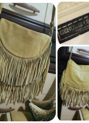 Genuine leather итальянская замшевая сумка