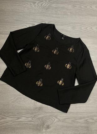 H&m, женская шифоновая блуза с рисунком из бисером. оригинал. р. м