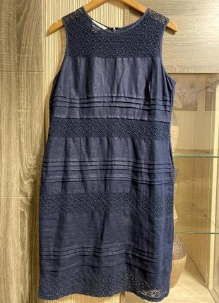 Льняное платья с вставками из прошвы