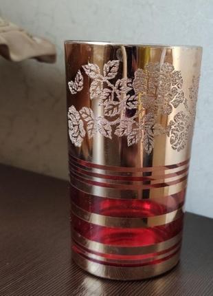 Набор стаканов из стекла с золотым напылением в упаковке
