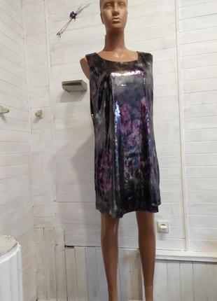 Шикарное коктельное или вечернее платье  из пайеток  xl-3xl