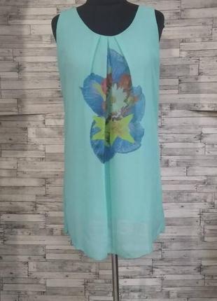 Бирюзовое шифоновое платье
