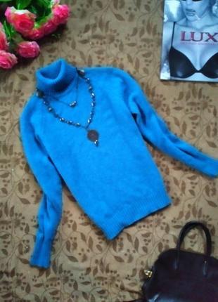 Шерстяной свитер, шотландская шерсть, шерстяной голубой свитер