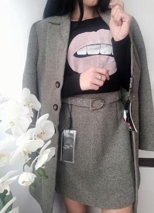 Шикарный классический костюм платье пиджак удлиненный + юбка christian morgin