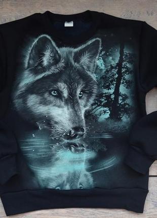 """✅суперская толстовка со светящимся рисунком """"волк отражение"""" 122-128 рост"""