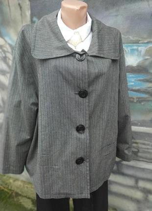 Пиджак в стиле бохо трапеция полоска полосатый батал