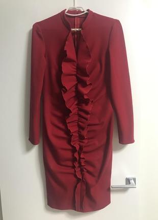 Платье красное трикотажное, 46