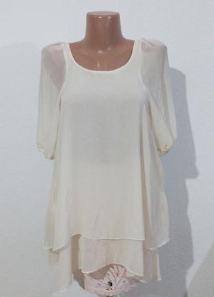 Двошарова шифонова довга блуза туніка