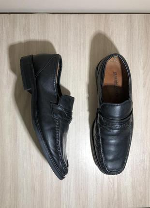 Кожаные туфли чёрные мокасины 42 стелька 28см