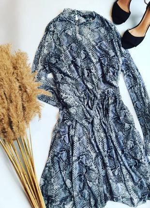 Платье сетка в змеиный принт