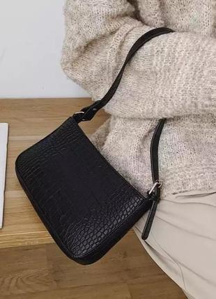 Черная сумка на плечо искусственная кожа рептилии сумочка ретро винтаж