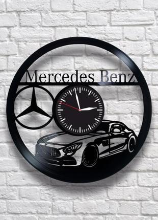 """""""mercedes benz"""" - настенные часы из виниловых пластинок. уникальный подарок! в наличии!"""