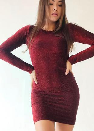 Мерцающее мини платье с длинным рукавом