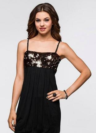 Вечернее платье 44 размер , черное платье , платье с пайетками