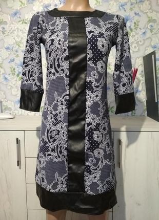 Платье с кожаными вставками на праздник