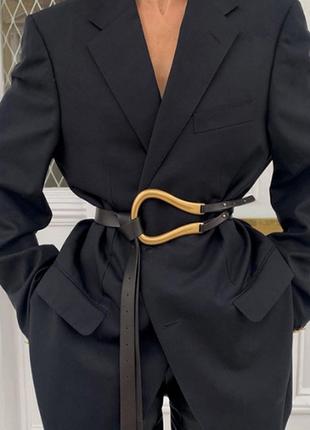 Ремень ремінь пояс талию качественный эко кожаный черный с объемной пряжкой новый